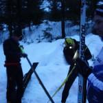 Ski blir testet og preppet kvelden før rennet